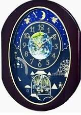"""NEW RHYTHM MUSICAL WALL CLOCK """"VELVET COSMOS"""" WITH 30 MELODIES 4MH428WU06"""