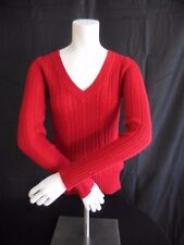 Aeropostale Long Sleeve Red V-Neck Cable Knit Sweater Size S/P