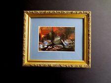 """Framed Print """"Tea Time"""" Hand Signed Greetings! Tasha Tudor & Dated 2002, Lovely"""