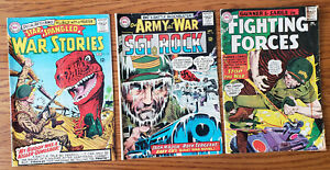 Lot of 3 Silver Age DC War Comics. War Stories, Sgt. Rock, Fighting Forces 1965