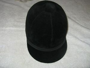 NEW VINTAGE EQUESTRIAN  BLACK VELVET  HORSE RIDING  JOCKEY - HAT / CAP 7 1/8""