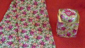 Royal Albert Old Country Roses  CHINTZ TEA TOWEL + LIDDED  TEA CADDY
