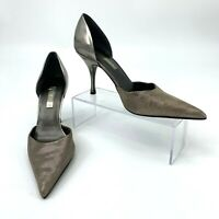 Ann Marino Leather Pumps Women's Size 7 M Supreme Pewter Pointy Toe Skinny Heels