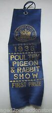 Orig 1936 New Jersey State Fair Poultry Pigeon & Rabbit Show First Prize Ribbon