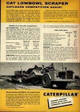 1956 Caterpillar Tractor Print Advertisement: Cat Lowbowl Scraper DW21 - No. 470