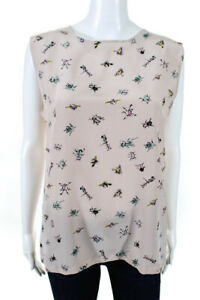 Raoul Womens Sleeveless Crew Neck Printed Silk Blouse Tank Top Pink Size 8