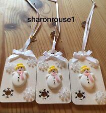 3 x Pupazzo di neve Regalo Decorazione da appendere TAG TAG pacco regalo fatto a mano bianco