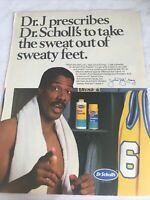 Dr Scholls Original Julius Erving Print Ad Basketball Locker Room 1988 Vintage