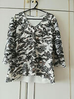 TIGI WOMENS WHITE BROWN LACE BLOUSE 3/4 SLEEVE FLORAL TOP SIZE 14 / 16 LENGTH 24