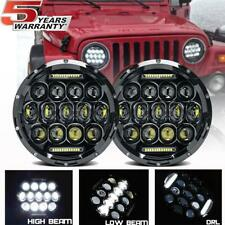 2x CREE LED Projector 7 inch Headlight Black Adapter for Jeep Wrangler JK 07-18