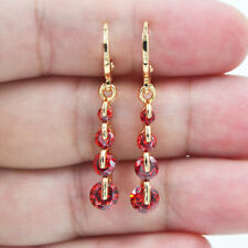 18K Yellow Gold Filled Women Red Ruby Topaz Zircon Linear Dangle Earrings