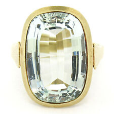 Antique 14k Yellow Gold GIA Natural 8.57ct Bezel Oval Aquamarine Solitaire Ring