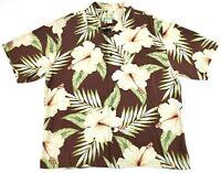 Reyn Spooner Floral Hawaiian Shirt Regency Silk Jacquard 100% Silk Men's Size L