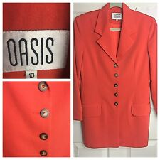 Oasis Orange Long blazer Jacket Size 10 Work Career Smart Casual