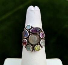 SAJEN Sterling Silver 925 Multi Gemstone Colorful Cluster Adjustable Ring