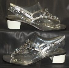 Juicy Couture silver leather open toe thong slingbacks sandals size 6 1/2 M