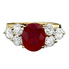 5.70 Carats Red Ruby and Natural Diamond 14K Solid Yellow Gold Ring