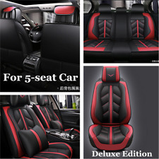 PU Luxury Leather Car Seat Full Set Cover Protector w/Headrest & Waist Pillows
