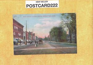 CT Middletown 1908-14 antique postcard MAIN ST BUILDINGS & HORSE PULLED CARTS
