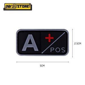 Patch in PVC Gruppo Sanguigno A+ POS 5 x 2,5 cm Soccorso Militare Velcrata DARK