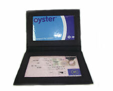 Persoanlised ID Black leather card holder oyster licence Add your Text vs933