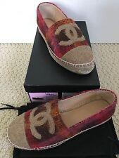 NIB Auth Chanel Pink Tan Tweed CC Logo Cap Toe Classic Espadrille Flats Sz 37 7