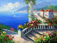 Beautiful Oil painting impressionism landscape Mediterranean seascape canvas