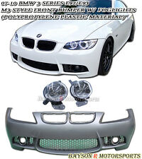 M-Style Front Bumper Cover (PP) + Projector Glass Fog Fits 07-10 BMW E92/E93 2dr
