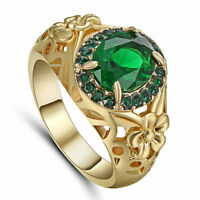 Green Emerald CZ Engagement Ring 10KT Yellow Gold Filled Wedding Band Size 7