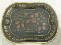 Antique Painted & Decorated Made in England Folk Art Basket of Fruit Tole Tray