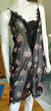 Next Floral Printed Woven Lace Slip Nightdress Black Size L BNWT rrp £30