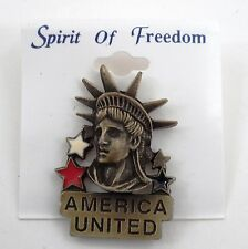 NOS Spirit of Freedom America United Statue of Liberty Patriot Hat Lapel Pin