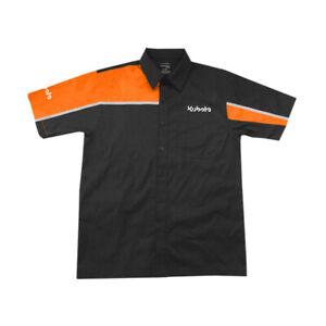 Kubota Branded Orange and Black Button up Mechanics Shirt with Pocket