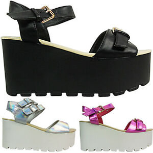 NEW WOMEN LADIES HIGH MID WEDGE BUCKLE STRAP FLATFORMS SUMMER SANDALS SIZE PARTY