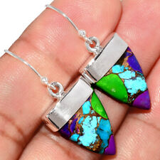 Multi Copper Turquoise 925 Sterling Silver Earrings Jewelry AE166224