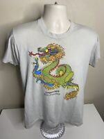 Vintage 70s San Francisco Chinatown T Shirt Men's Size Large Gray