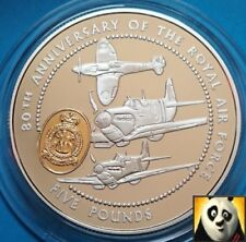 1998 GUERNSEY £5 Five Pounds 80th Anniv. Royal Air Force RAF Silver Proof Coin