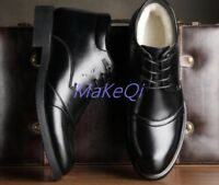 Men's Winter Leather Shoes Dress Fur Lined Oxfords Snow  boots High top Boots