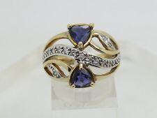 14k Yellow Gold Trillion Purple Iolite Round Diamond Accent 17.3mm Band Ring