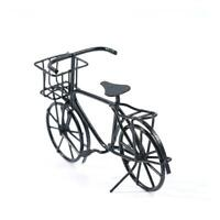 1:12 Scale Black Metal Ladies Bicycle With Basket Tumdee G Bike House W7A3 E8D6