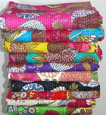 Set of 10 Handmade Kantha Quilt Floral Printed Twin Size Kantha Bedspread Throw