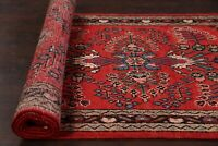 Vintage RED Floral Hand-knotted Traditional 13' Hamedan Runner Rug 13' 4 x 3' 7