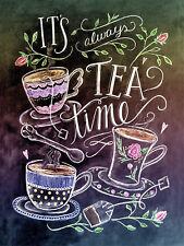 It 's Always Tea Time, retro metal aluminium sign, Café, Restaurant, kitchen