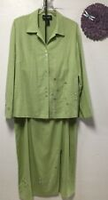 Ladies two piece skirt suit top size 14 skirt size 16 green  Requirements 167
