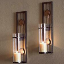 2 set Metal Brown Wall Candle Sconces with Antique Patina Medallions