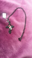 STEAMPUNK GOTHIC BLACK  CROSS/ RED/ ROSE SILVER PLATED SKULL CHAIN  NECKLACE