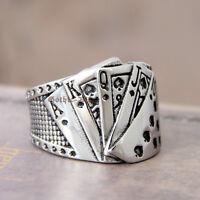 Men Silver Stainless Steel Casino Lucky Poker Spade Ace Ring Bad Ass Royal Flush