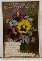 Birthday Wishes RPPC Hand Colored PANSIES Photo Postcard H16