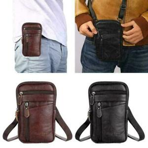 Men Real Leather Fashion Phone Pouch Belt Bag Shoulder Waist Pack Crossbody