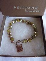 Silpada Green Peridot stone and Silver Chunk Bracelet Sterling Silver B0904